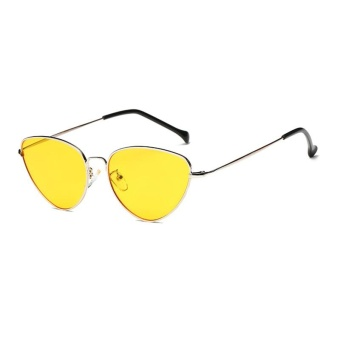 Personalized Color Film Ocean Film Sunglasses New Metal Cat Eye Men and Women Sunglasses-Silver Frame Jelly Yellow - intl