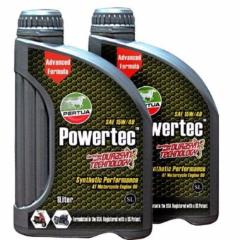 PERTUA Powertec Synthetic Performance 4T Motorcycle Engine Oil SAE 15W/40 1 Liter (Bundle of 2)