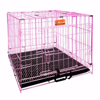 Pet Crates EL-1.5 Foldable Dog Cage w/ Plastic tray (Pink)