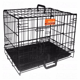 Pet Crates EL-2B Foldable Dog Cage w/ Plastic tray (Black)