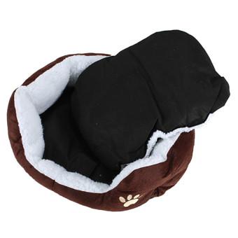 Pet Dog Puppy Cat Soft Fleece Warm Nest Bed Plush Pad CottonMatHouse Coffee - 3