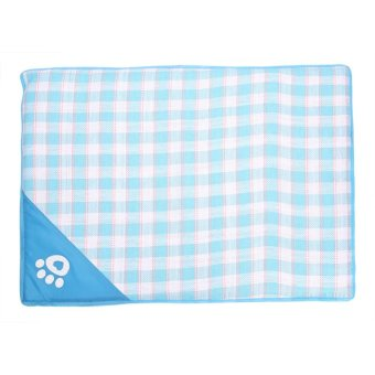 Pet Dog/Cat Summer Cool Woven Mat Pets Cushion (Blue L) - intl