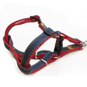 Pet Harness Set Lead Leash Training Walking Belt For Small MediumPuppy Dogs Cats Adjustable Denim - Red S/1.0*120cm - intl