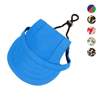 Pet Hat With Ear Holes Canvas Dog Sunscreen Pets Products Dogs Accessories(Size:M) - intl