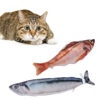 Pet Kitten Toy Catmint Stuffed Simulation Fish For Cat Chewing Playing(Saury) - intl
