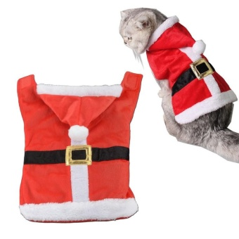 Pet Supplies Soft Red Santa Claus Dog Cat Pet Coat with Hoodie - intl