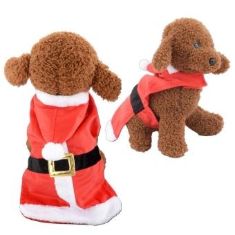 Pet Supplies Soft Red Santa Claus Dog Cat Pet Coat with Hoodie - intl - 2