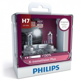 Philips X-treme Vision Plus (+130%) H7 Headlight Bulb Twin Pack