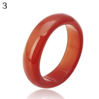 Phoenix B2C Natural Agate Jewelry Wedding Finger Ring for Women Men Love Christmas Gift 7 (Red) - intl