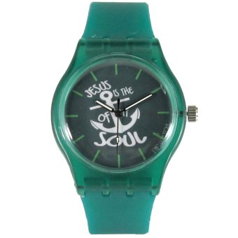Pic Watch Jesus Is The Anchor of My Soul Green Silicone Strap Watch