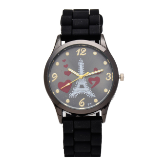 Piedras Eiffel Men's Black Rubber Strap Watch ALL31