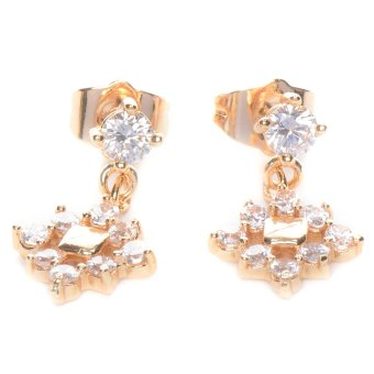 Piedras jewelry Cubic Zirconia 18k plating Dangling Earrings (Yellow Gold)