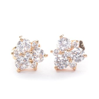 Piedras jewelry Cubic Zirconia 18k plating stud Earrings (Yellow Gold)