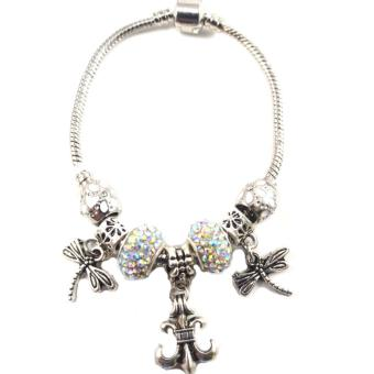 piedras jewelry Pandora stainless steel charm bracelet with inamelbeads (multi color)
