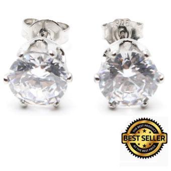 Piedras jfk18 Diamond like cubic Zirone stone stud Earrings (Silver)