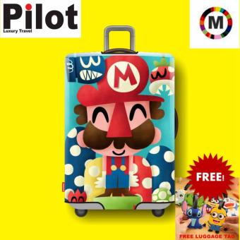 Pilot Korean Style Travel Accessories 22-24 Inches(M) ElasticCartoon Lovely Luggage Protector Waterproof Travel Suitcase Coverinch Trolley Case( Mario)With FREE Luggage Tag