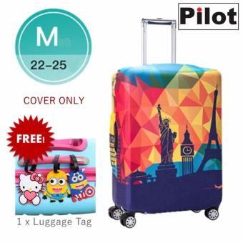 Pilot LC002 Korean Style Travel Accessories 22-25 Inches(M)ElasticCartoon Lovely Luggage Protector Waterproof Spandex Travel SuitcaseCover Trolley Case (Happy Travel) FREE Luggage Tag