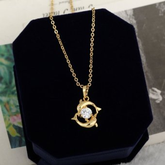 Playing Couple Dolphin Crystal Necklace Lady Pendant Chain Jewelry Gold (Intl)