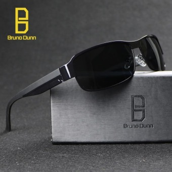 POLARIZED Sunglasses Men Classic Brand Designer Sun Glasses MenDriving Polaroid Points Frame 8485 (black frame grey lense) - intl