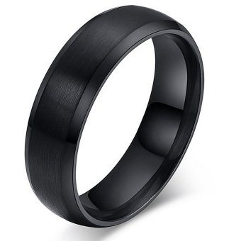 Polish Gold Plated Ring for Women and Men Stainless Steel WeddingRing (Black) - INTL