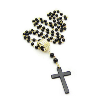 Pop Golden Ring Black Bead Cross Long Necklace L (Intl)