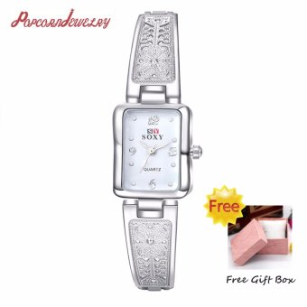 Popcorn WH0014W Casual Quartz Watch Rectangle Shape Business FemaleWomen Lady watch with Silver Carved Bracelet(Silver)