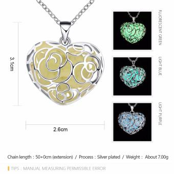 Popcorn YGN065-C Heart Shaped With Night Fluorescent Blue PendantNecklace Party Jewelry (Blue) - 2