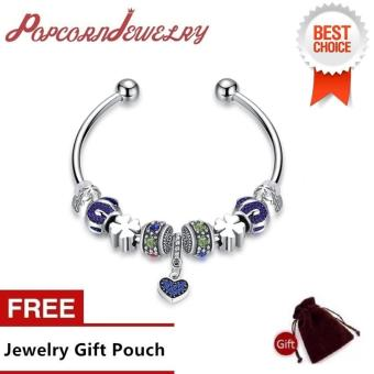 Popcorn YW-GSH161-6.5 Diamond Carved Lovely Beads & Four Leaf Charms with Diamond Heart Pendant Pandora Bangle Bracelet