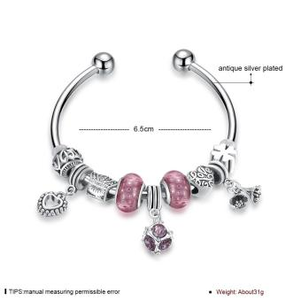 Popcorn YW-GSH163-6.5 Carved Lucky Beads & Four Leaf Clover with Heart & Flower & Geometric Pendant Pandora Bangle Bracelet - 2