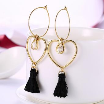 Popcorn YW-LXE015 Bohemia/Korean Style Hollow Heart-Shaped With Water Drop Diamond Tassel Dangle Earrings - 5