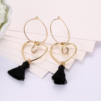 Popcorn YW-LXE015 Bohemia/Korean Style Hollow Heart-Shaped With Water Drop Diamond Tassel Dangle Earrings - 3