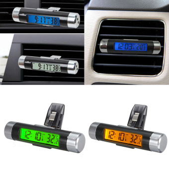 Portable Car Styling 2in1 Car Auto LCD display Clip-on temperatureDigital Backlight Thermometer time Clock YA398-SZ