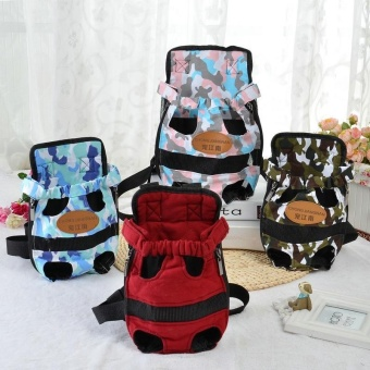 Portable Pet Puppy Double-shoulder Prothorax Bags Dog TravelCarrier Dog Front Backpack Pet Bags Dog Pack Bag Chest Pack Red-L -intl