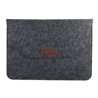 Portable Soft Laptop Sleeve Cover Anti-scratch Bag For (15inch Dark Grey) - intl