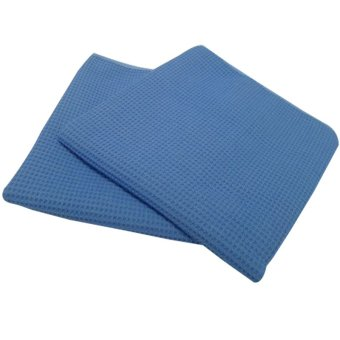 Posh Care Glass Microfiber Waffle Weave Cloth 2-piece Pack (Blue) - picture 2