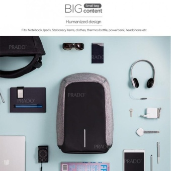 PRADO Anti Theft Backpack Grade A OEM Design Bag Bobby XDInspiredKK2236 - Grey - intl - 2