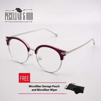 Premium Clubmaster Round w/ Multi Coated lens and AircraftAluminum-magnesium Alloy Replaceable Lens UnisexEyewear_G003_Magenta_Silver Optical Frame Replaceable Lens - Unisex