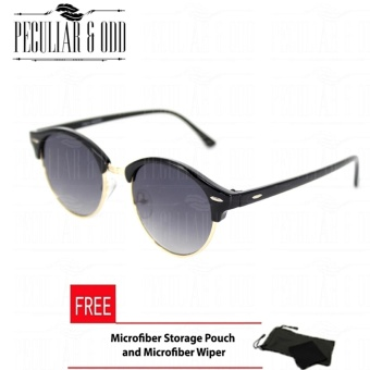 Premium Round Clubmaster 4253_Black Classic Sunglasses with Black Flash And Replaceable Lenses Unisex