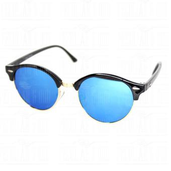 Premium Round Clubmaster 4253_Blue Classic Sunglasses with BLue Flash And Replaceable Lenses Unisex - 3