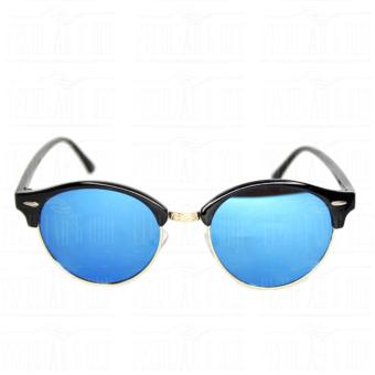 Premium Round Clubmaster 4253_Blue Classic Sunglasses with BLue Flash And Replaceable Lenses Unisex - 2