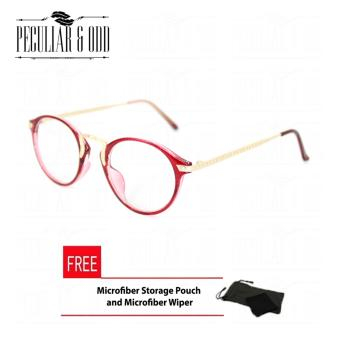 Premium Round Optical Eyeglass 3018_RedGold in Aircraft Aluminum-magnesium Alloy with Replaceable Lens Unisex Eyewear