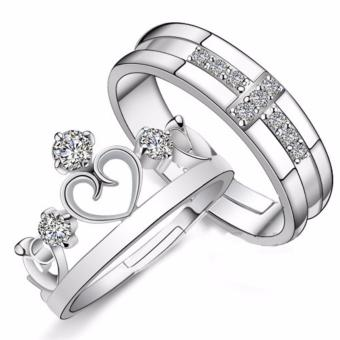 Prince and Princess Silver Plated Couple Ring Adjustable High Quality Fashion Ring