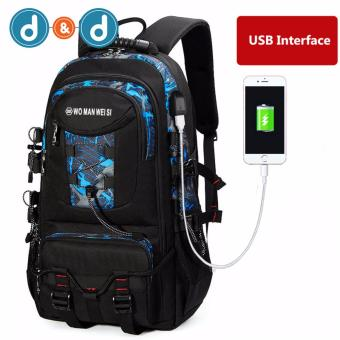 PRINCE TRAVEL478F02 New Outdoor Hiking Camping Waterproof Oxford Travel Luggage Rucksack Backpack Bag With USB Charging Port(Blue+Black)