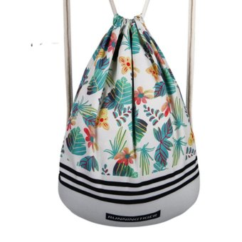 Printed Bundle Pocket Youth Trend Backpack Travel Bag DrawstringBag - intl Price Philippines