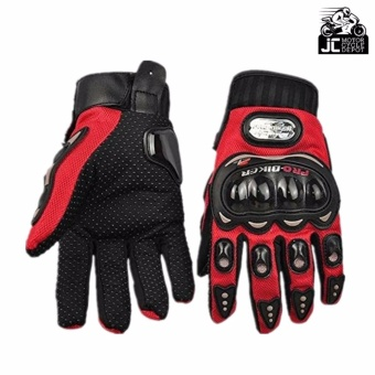Pro-Biker Motorcycle Riding Hand Full Finger Protection Gloves M (Red) - 2