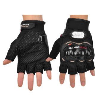 PRO-BIKER Sports Racing Short Gloves Gloves Motorcycle Racing Motorbike Motorcycle Fingerless Outdoor Sports Gloves M (Black) - 3