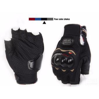 PRO-BIKER Sports Racing Short Gloves Gloves Motorcycle Racing Motorbike Motorcycle Fingerless Outdoor Sports Gloves M (Black) - 4