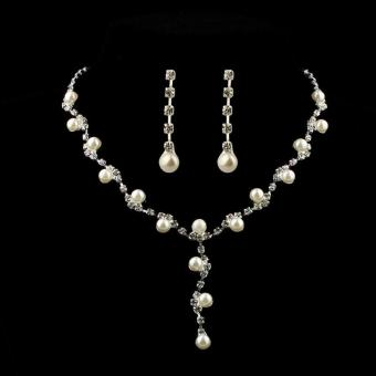 Prom Wedding Bridal Jewelry Crystal Rhinestone Necklace Earring Sets A - intl