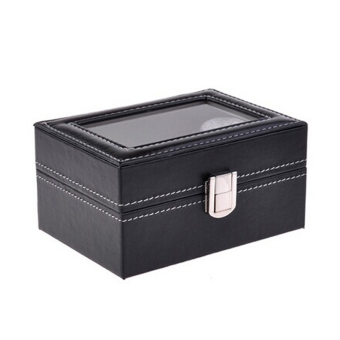 PU Leather Box 3 Grid Slots Watch Jewelry Display Storage OrganizerCase - Intl