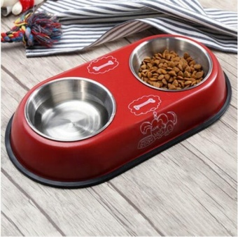 Pudding Pet bowl double bowl of food basin Red - intl